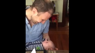 Newborn baby adorably spoils the moment