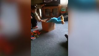 Cute Baby Gets Stuck In A Box - Video