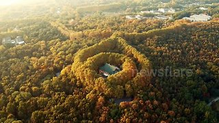 This drone footage of fall foliage enveloping Nanjing's Meiling Palace is beautiful