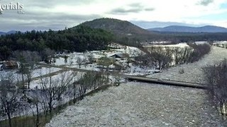 Aerial Footage Shows Ice Jam on the Saco River - Video