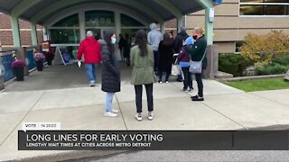 Metro Detroit voters wait hours to vote early on Friday