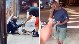 GENEROUS MAN HELPS HOMELESS BY BUYING THEM FOOD AT ANY OPPORTUNITY