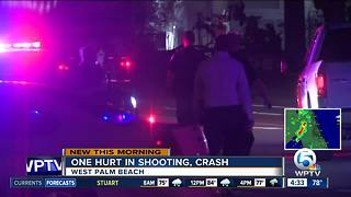 Man hurt in shooting, crash in West Palm Beach - Video