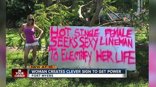 woman creates clever sign to get power - Video