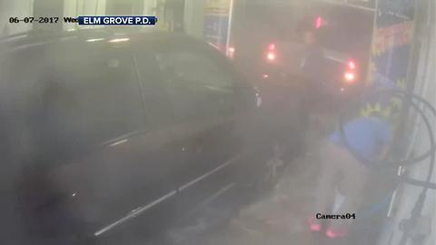 Wisconsin car wash employee narrowly escapes collision in car wash