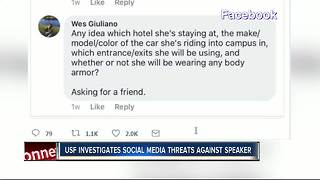 USF investigates social media threats against speaker - Video