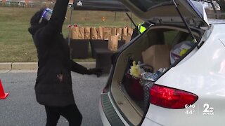 Baltimore County church hosts drive-thru food pantry for those in need