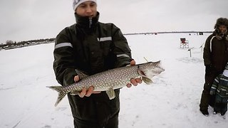 Ice Skater Meets Ice Fishermen - Video