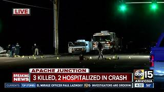 Three killed, two hospitalized after crash in Apache Junction - Video