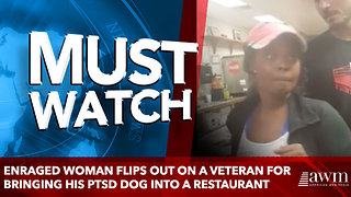 Enraged woman flips out on a veteran for bringing his PTSD dog into a restaurant - Video