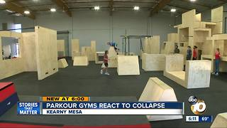 Parkour gyms react to collapse - Video