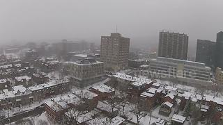 Beautiful drone footage of Montreal during snowstorm - Video