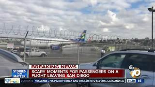 Scary moments for passengers on a flight leaving San Diego - Video