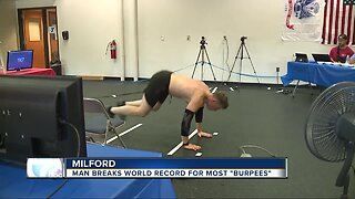 Milford man breaks world record for most burpees