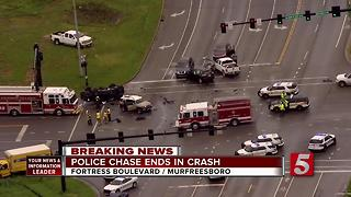 2 In Custody After Pursuit, Multi-Car Crash In Murfreesboro - Video