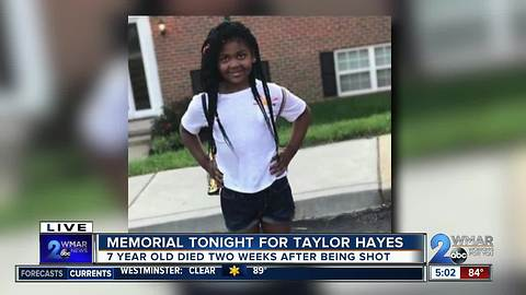 Memorial tonight for taylor hayes