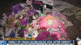 Family of young crash victim holds vigil after guilty verdict - Video