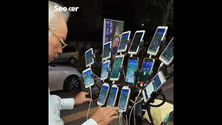 Pokémon Grandpa' Uses 15 Phones at Once for Pokémon Go - Video