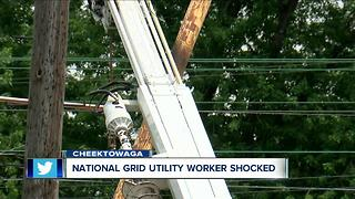 Utility worker shocked on the job - Video
