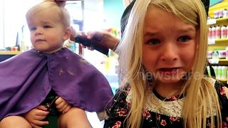 Bella cries at baby brother's first haircut