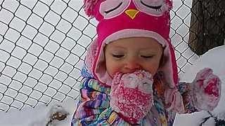 Toddler Can't Stop Eating Snow! - Video