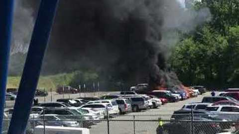 Vehicles Damaged in Parking Lot Fire Outside Carowinds Theme Park, North Carolina