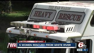 Five women rescued after kayaks overturn during birthday trip on White River - Video