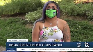 Organ donor honored by rose parade