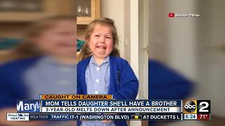 Girl has meltdown over getting a baby brother - Video