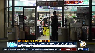 Store clerk shot after confrontation with suspected thief