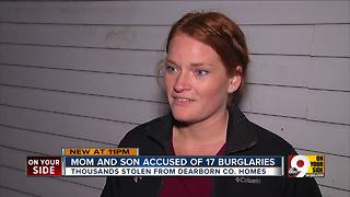 Mother-son duo faces 19 burglary charges