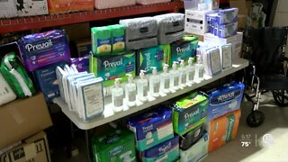 Local organization and teens helping collect personal hygiene products