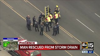 Man rescued from Phoenix storm drain