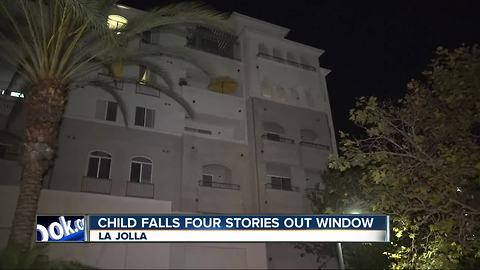 Child falls out four-story high window in La Jolla