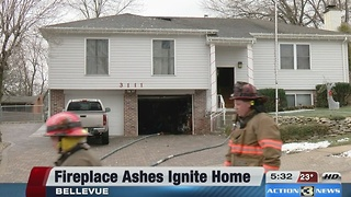 Fireplace ashes ignite home in Bellevue - Video