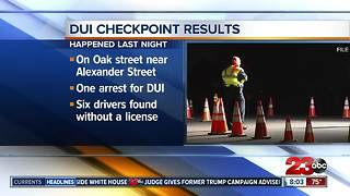 DUI Checkpoint results
