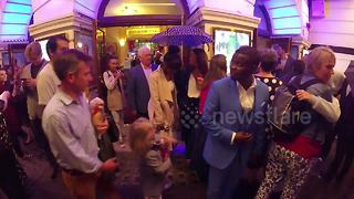 Alexandra Burke and Miranda Hart depart 'Annie' musical press night - Video