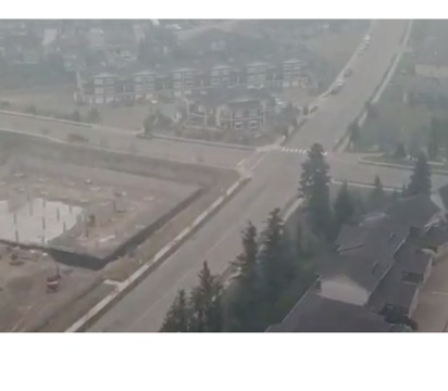 Drone Video Shows Grey Smoke Covering Kamloops, BC, as Fires Choke the Air