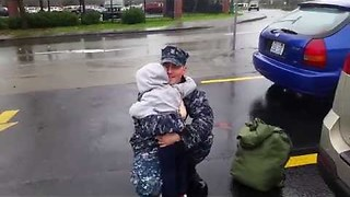 Little Boy Welcomes His Dad Back From The Army