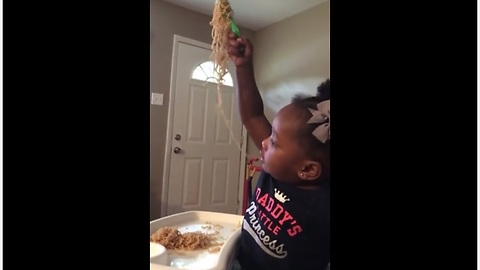 Baby thinks Ramen Noodles are