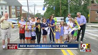 After being closed for months, busy Marburg Ave. reopens with new bridge - Video