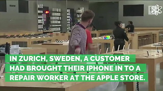 iPhone 'Explodes' in Hands of Employee at Apple Store, Injuring Seven People - Video