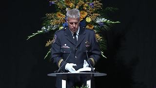 IMPD Lt. Michael Bruin delivers remembrance at funeral for Deputy Chief James Waters - Video