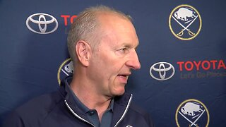 Ralph Krueger speaks to the media following Sabres Development Camp