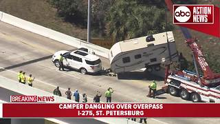 Travel trailer removed from I-275 overpass in St. Pete after crash