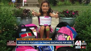 9-year-old Kansas City girl organizes backpack drive - Video