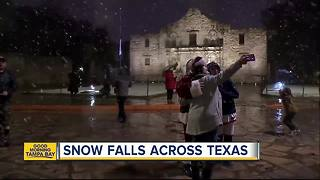 Snow falls across Texas on Thursday - Video