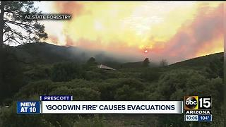 Goodwin Fire sparks near Prescott - Video