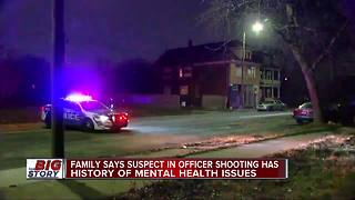 Family says suspect in officer shooting has history of mental health issues - Video