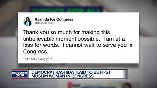 AP: Rashida Tlaib wins race to replace John Conyers; likely to be first Muslim woman in Congress - Video